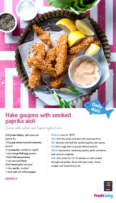 Swap Friday-night pizza for crunchy, baked strips - a healthier meal that's good for the ocean too (yup, there's plenty more of this kind of fish in the sea! Fish Recipes, Healthy Recipes, Yummy Recipes, Middle Eastern Dishes, Weight Watcher Dinners, South African Recipes, Toasted Almonds, Recipe Search, Smoked Paprika