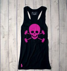 Skull & Barbells Racerback Active Tank - Black/Pink by Gymdoll  $26.00