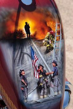 9/11 Fire Fighter Tribute Chopper Tank Amazing job