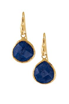 Aqua or Lapis & 12 k Gold Drop Earrings | Serenity Small Stone Drops | Stella & Dot