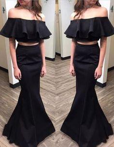 off shoulder two pieces black long prom dresses,