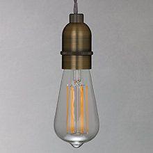 Buy John Lewis Bulb Holder Pendant Cord Ceiling Light, Antique Brass Online at johnlewis.com