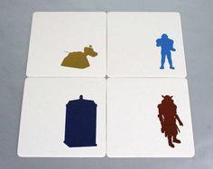 Doctor Who Letterpress Coasters - Set of 4 - Tardis, K-9, Judoon, and Sontaran