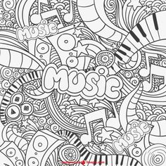 illustrations of women Music Doodle, Cute Doodle Art, Cute Doodles, Adult Coloring Book Pages, Colouring Pages, Coloring Sheets, Coloring Books, Music Graffiti, Dibujos Zentangle Art