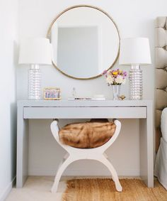 This vanity is actually an Ikea Hack - Kristen Kerr had her dad spray paint a plain white Ikea Malm dressing table a high gloss gray then paired it with a brass mirror from - from design sponge - Daily Home Decorations Decor Room, Bedroom Decor, Home Decor, Bedroom Table, Bedroom Furniture, Furniture Vanity, Bedroom Ideas, Furniture Nyc, Furniture Deals