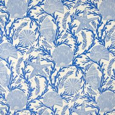 Sapphire Blue Novelty Made in USA Upholstery Fabric Blue color Novelty and Beach and Animal and Tropical pattern Made in USA and Outdoor and Prints type Upholstery Fabric called Sapphire by KOVI Fabrics Coastal Fabric, Blue And White Fabric, White Fabrics, Greenhouse Fabrics, White Prints, Tropical Pattern, Drapery Fabric, Curtains, Textile Design