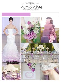 Plum, purple and white wedding inspiration board, color palette, mood board via Weddings Illustrated