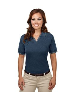 Women's Stain Resistant Johnny Collar Pique Golf Shirt (up to size 4X)