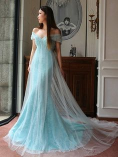 Trumpet/Mermaid Lace Tulle Sweep Train Sequins Ladies Off-the-shoulder Prom Dresses - millybridal.org