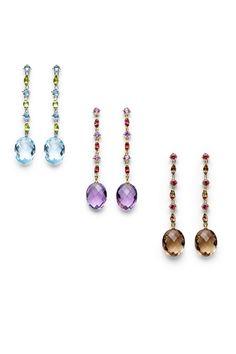 Pendientes largos y en tres versiones diferentes de piedras preciosas, de Antonini
