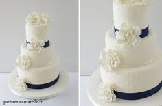 Wedding cake blanc et bleu Deco Table, Vanilla Cake, Wedding Cakes, Cute, Desserts, Food, Vanilla Sponge Cake, Wedding Gown Cakes, Meal