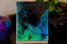 Mini original abstract painting on canvas with mini easel stand, green, black, blue , mini canvas, acrylic, hand poured by Traceyleeartdesigns on Etsy Mini Canvas, Canvas Size, Wooden Easel, Australian Artists, Art Designs, Original Paintings, My Arts, The Originals, Abstract