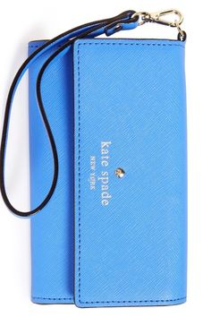 Obsessed with this chic blue Kate Spade wristlet, perfectly designed to secure your smartphone, cash, cards and ID—everything you need to go from day to evening in style. Zip Wallet, Wristlet Wallet, Kate Spade Wallet, Small Leather Goods, Cute Bags, Tech Accessories, Leather Crafting, Nordstrom, Designer Wallets