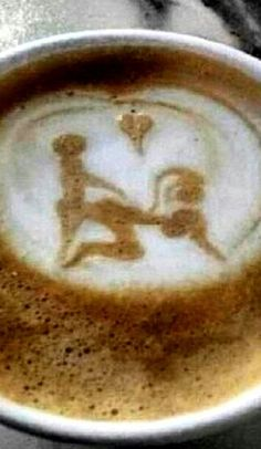 Sexy Coffee Art hahaha love it! I Love Coffee, Coffee Art, Coffee Break, Hot Coffee, Morning Coffee, Coffee Mornings, Coffee Shop, Coffee Cups, Whatsapp Funny Pictures