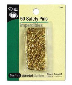 Dritz 50 Assorted Brass Safety Pins - Size 00/0 - $2.30 | onlinefabricstore.net