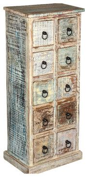Distressed Reclaimed Wood 10 Drawers Chest Double Dresser Pillbox - rustic - Dressers Chests And Bedroom Armoires - Sierra Living Concepts