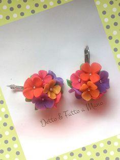 Orecchini fioriti in pasta polimerica fimo