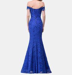 Elegant Beaded Mermaid Evening Dress Royal Blue Evening Dress, Blue Evening Dresses, Mermaid Evening Dresses, Formal Dresses, Evening Dresses With Sleeves, Dress Backs, Sleeve Styles, Clothes For Women, Elegant