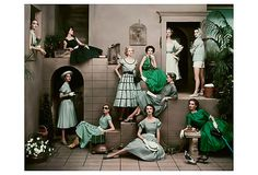 Eleven Green & Blue Outfits, from an April 1952 issue of Glamour, taken by Frances McLaughlin-Gill