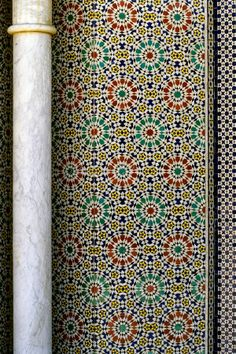 Fez, Morocco - Column and Tile Work at the Royal Palace, Dar al-Makhzen. Moroccan Pattern, Moroccan Design, Moroccan Decor, Moroccan Style, Islamic Patterns, Tile Patterns, Textures Patterns, Print Patterns, Geometric Patterns
