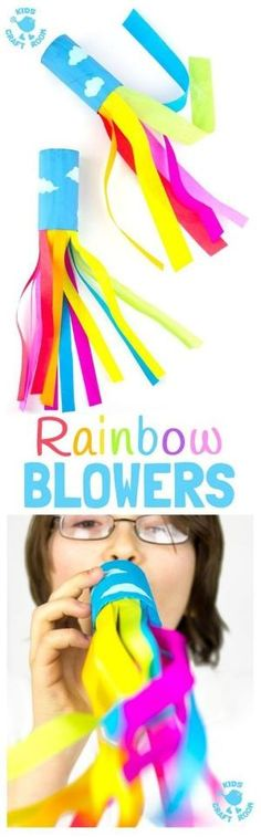CARDBOARD TUBE RAINBOW BLOWERS are a colourful and fun kids craft! Kids love blowing this rainbow craft to see the streamers swoosh. A super TP roll St Patrick's Day craft or for a weather topic too. by marylou