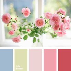 color combination for spring, delicate burgundy, delicate green, delicate pink, delicate red, gentle blue, pale pink, peachy pink colour, spring color palette, tender green.