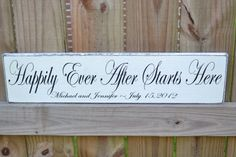 Happily Ever After Starts Here, Custom Wood Wedding Sign, Wedding Gift, Engagement Gift, Personalized Sign via Etsy