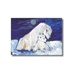 ACEO Polar Bears Arctic Moon Blue Original Impressionism painting by Cheryl Ann Buckman