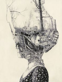 Pat Perry's detailed sketches display memories as tangible objects and intricate landscapes. #art #drawing #sketchbook #surreal