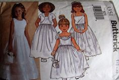 Butterick sewing pattern no. 3351 Flower girls dress size 6,7.8 yrs #Butterick