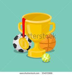 Flat 3d isometric trophy cup gold medal sport balls concept web infographics vector illustration. Soccer basketball tennis ball golden win winner champion conceptual.