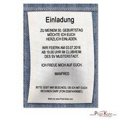 Diese witzige Einladungskarten zum Geburtstag ist als Waschanleitung / Wäscheetikett einer Jeans aufgemacht und wird mit Ihren persönlichen Angaben gedruckt. Zur Fertigung dieser Einladungen Einladungskarten zum Geburtstag...