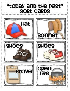 {Today and The Past} sorting cards for Kindergarten Social Studies. $