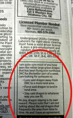 Green / Red Dragon - Classified Ad