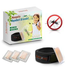 Mosquito Repellent Bracelet  All Natural Waterproof Repeller Wrist Bands plus 4 Refills  Deet Free Pest Ants and Insects Protection No Spray  Safe for Kids Babies Black