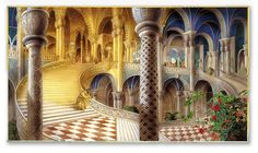 King Midas and the Golden Touch illustrated by Kinuko Y. Ovid Metamorphoses, Frank Dicksee, King Midas, Classical Mythology, Pre Raphaelite, Rey, Barcelona Cathedral, Castle, Stairs