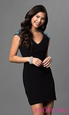 V-Neck Open Back Dave and Johnny Dress with Jewel Detailing at PromGirl.com