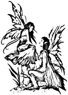 Black Tribal Fairies Tattoos Designs