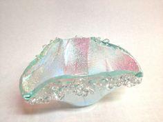Fused  Dichroic Aquamarine Blue Glass Candle by Mtbaldyglassworks, $34.00