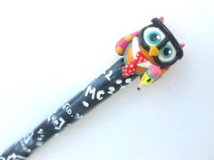Geeky Owl Crochet Hook Polymer on Aluminum by TheClayBeanCo