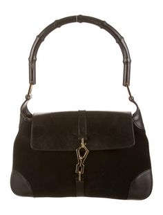 Black leather and suede Gucci Bamboo Bardot bag with gold-tone hardware, slit zip pocket at interior lining and push closure at front flap. Buy handbags from Gucci at The RealReal. Gucci Bamboo, Bardot, Luxury Consignment, Dust Bag, Black Leather, Shoulder Bag, Handbags, Women, Totes