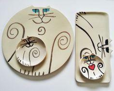 decorative platter plus bowls: Cat Pottery HM collection white black plate whimsical art ceramic on Etsy, $139.00