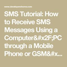 Learn how to receive SMS messages using a computer / PC through a mobile phone or GSM/GPRS modem. Sms Message, Messages, Pc Computer, Arduino, Math, Learning, Phone, Telephone, Math Resources