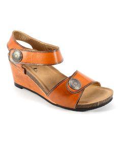 Love this Orange Back Door Leather Wedge Sandal on #zulily! #zulilyfinds