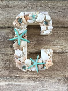 Seashell Letters Cake Topper Initials Cake by ThePaintedPearlSRQ Summer Deco, Seashell Crafts, Beach Crafts, Seashell Cake, Initial Wall, Wall Initials, Beach Baby Showers, Letter Cake Toppers, Mermaid Room