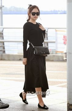 Black Long Sleeve Plain Top with Long Midi Skirt  Fashion of A Pink Naeun