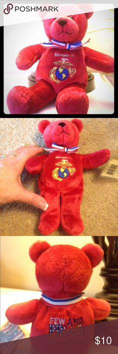Marine Corps Mini Bear Perfect condition with tag. Great for a desk or office. Letters and symbols are embroidered. Approximately 8 1/2 inches long/tall and 6 inches wide at arms. Other