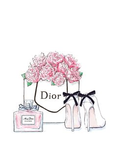 Fashion illustration Dior flowers shoes and by Annasillustrations