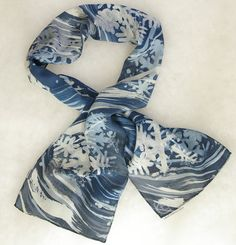 "Hand Dyed Crepe de Chine Silk Scarf  Snowflakes on a Stormy Night by LauraElderton (8""x54"") www.etsy.com/shop/lauraelderton"