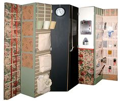 DIY room divider of bulletin boards, magnetic boards, white boards, etc....